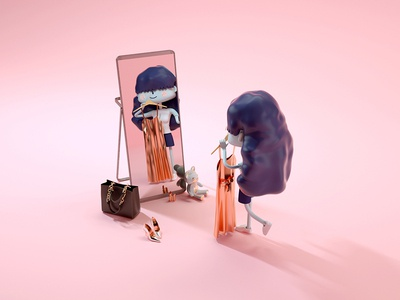 Miss.Mei Dressing character design girl character octanerender illustration c4d 3d