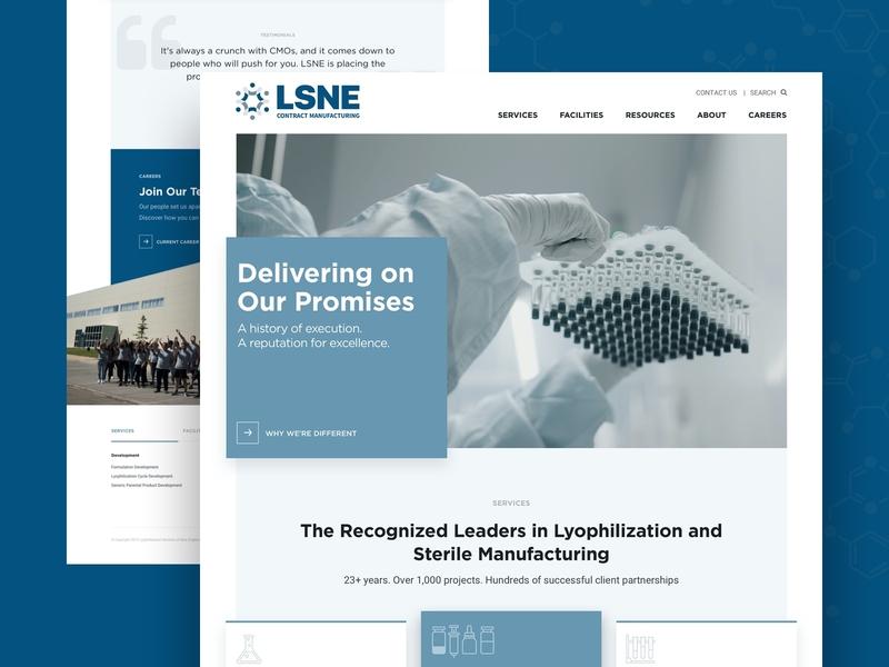 LSNE Website pattern light blue agency design system sketch manufacturing modern wordpress landingpage website design website