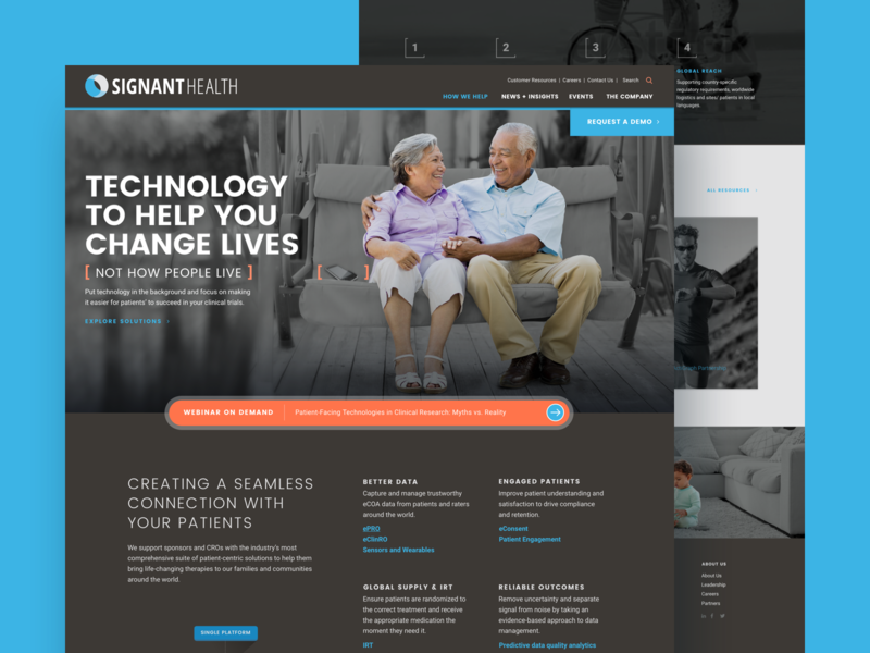 Signant Website orange modern brown design system agency healthcare dark ui wordpress homepage sketch landing page web design