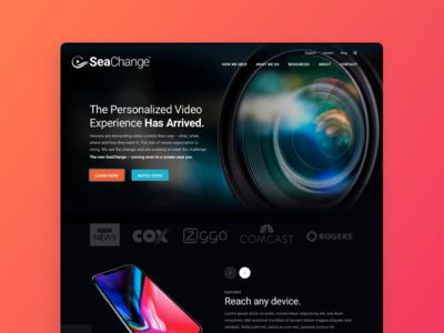 SeaChange Homepage - Alternate Concept modern wordpress agency personalized video homepage teal video web design landing page