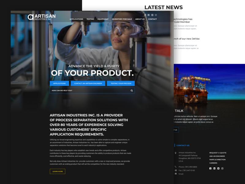 Artisan Homepage Design dark blue homepage emagine agency wordpress dark background web design landing page dark ui