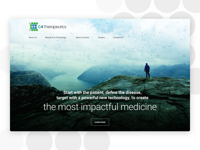 C4 Therapeutics modern medical healthcare emagine sketch homepage agency wordpress landing page web design daily ui