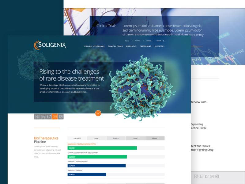 Soligenix Homepage landingpage green biotech pharmaceutical healthcare agency emagine wordpress sketch agency landing page web design website
