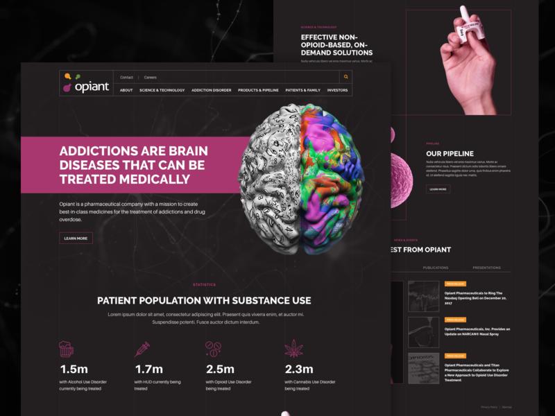 Opiant Homepage Concept interface pharmaceuticals agency purple dark ui modern healthcare pharma homepage sketch landing page web design
