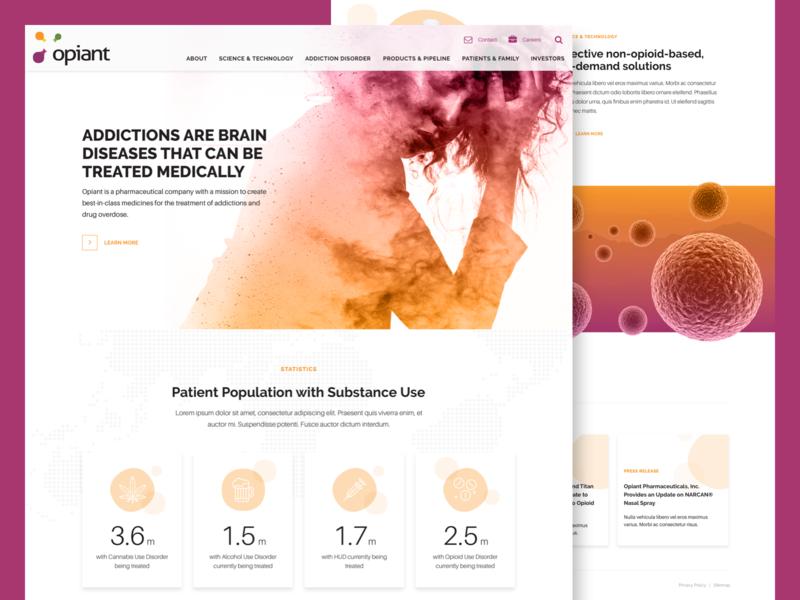 Opiant Final Homepage pharmaceuticals orange purple modern healthcare ui-ux sketch agency interface landing page web design