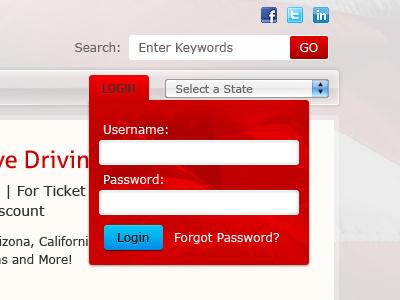 Login Form login navigation dropdown form