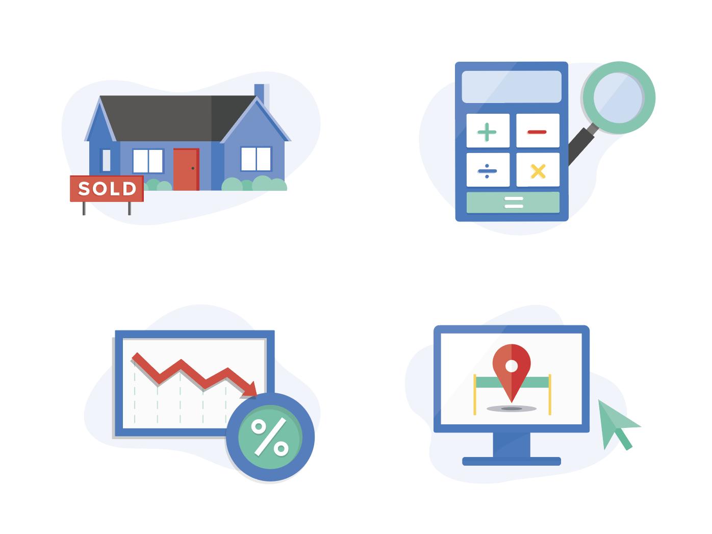 Homebuying Icons rates house calculator illustration iconography icon