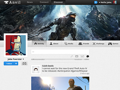 Anvil Profile anvil profile newsfeed connect discover gaming games follow ironman halo project