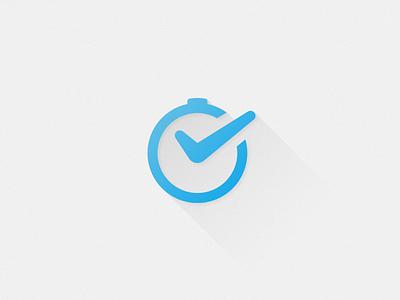 Startup Logo startup mark logo identity clock time checkmark launch flat