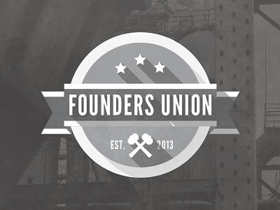 Founders Union logo vintage retro flat industrial urban ribbon hammer stripe