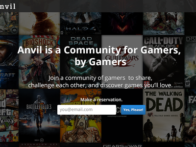 Anvil Launch Page anvil video games pc xbox wii playstation photoshop launch page landing page coming soon gamer signup reservation rebound