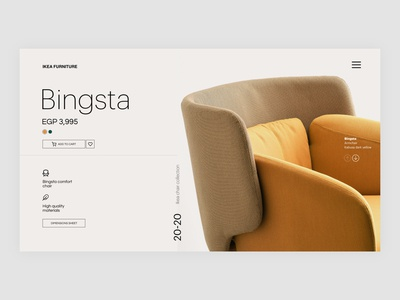 Bingsta Chair Concept page product ikea adobexd minimalist uiuxdesign uidesign uiux webdesign landing chair ecommerce website web ux typography ui minimal clean concept design