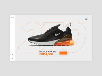 Nike Air Max 270 | Product page concept uidesigner uxdesign uidesign uiux float app website web ux typography ui minimal clean concept design