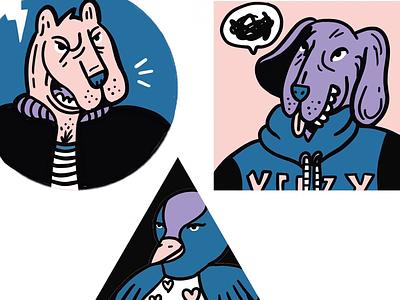 Animal Fight animals illustration