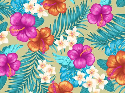 Tropic Thunder pattern flowers line work color pencil apple pencil ipad pro procreate illustration tropical floral pattern