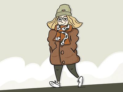 Winter stroll procreate texture doodle illustration character winter sketchbook