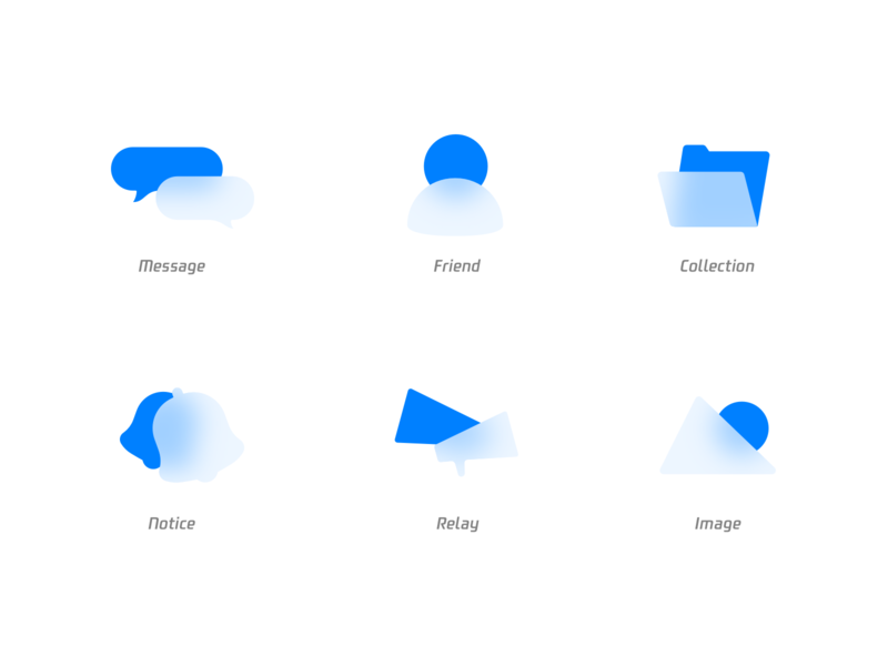 Empty state image relay notice collection message friend acrylic blur blue empty state icon
