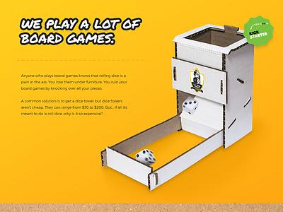 Dice Tower Hero kickstarter gaming dice cardboard white black yellow