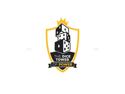 ⚡ Dice Tower of Power ⚡ lightning logo shield dice black yellow crown