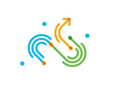 ↪ yellow blue green stroke curve arrow illustrator illustration line linecon icon