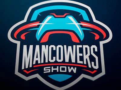 Shield Logo for Mancowers Show designer jellybrush illustrator graphic mascotlogo e-sports vector sport design sports logo mascot logo mascot esports branding logotype logo