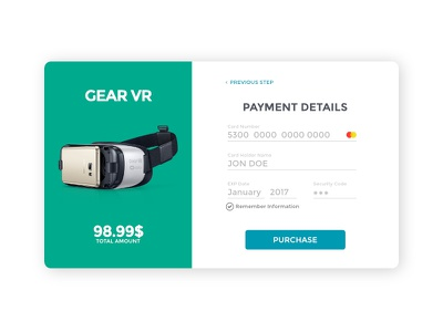 Credit Card Checkout ecommerce vr gear app web checkout card credit
