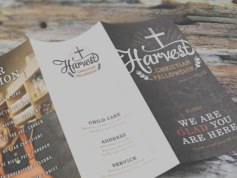 Harvest Christian Fellowship Mockups bulletin church mockup site work coffee texture logo stamp