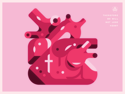 Therefore we do not lose heart. strong love human body guts organ lighting shapes illustration icon jesus cross human heart heart