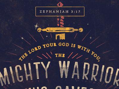 Zephaniah 3:17 type verse bible texture vintage rough warrior sword rays color 100 verses