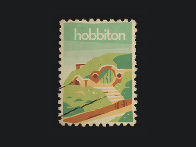 Hobbiton stamp vitnage simple fan art poster fellowship of the ring frodo bilbo under hill round door the shire jrr tolkien lord fo the rings lord fo the rings lotr middle earth home hobbit hole hobbit