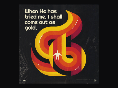 Tried by Fire vintage cover trial tried by fire album cover album retrowave retro font retro 50s person figure 60s fire