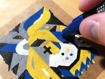 Lion Drawing practice test progress paper handdrawn drawing ink face pink posca marker lion inktober