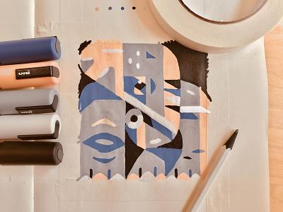 Elephant Ink sketch ink square inktober posca marker shapes elephant logo elephant