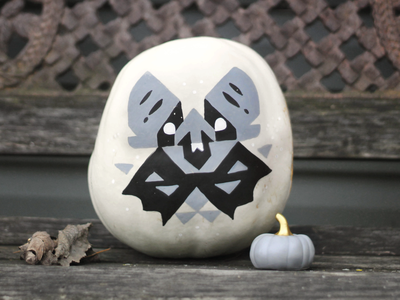 Bat 2 color grayscale handdrawn marker decor halloween pumpkin bat