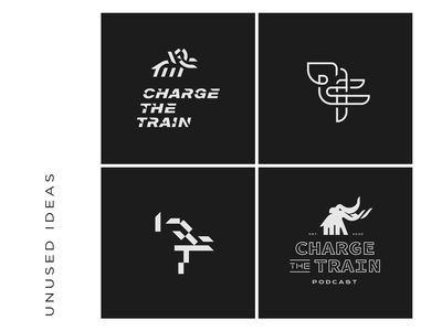 Triangle Elephant charge the train bold billboard rough tough manly elephants triangles shapes simple mark logo branding brand focused mad charge train podcast elephant