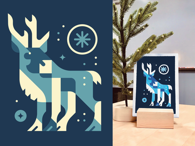Caribou - Snow Watching simple shapes side hustle for fun christmas decorations office decor art illustrations sketch hand made painting markers posca blue blues snow christmas christmas card raindeer caribou