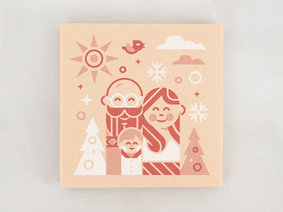 Family Christmas Card letterpress screen print card mockup fabrication toys retro simple people illustration fmaily christmas