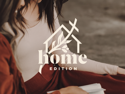Home Edition floral flower groups bible study home women cross leaves logos brand branding logo house hands