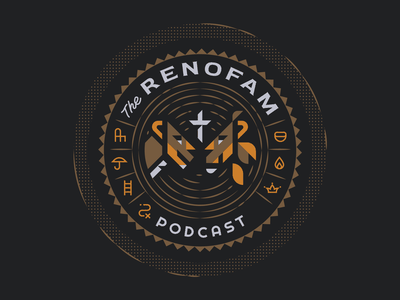 The RenoFam Podcast badge seal soundwaves minimal clean simple shapes geometric illustrator podcast logo lions