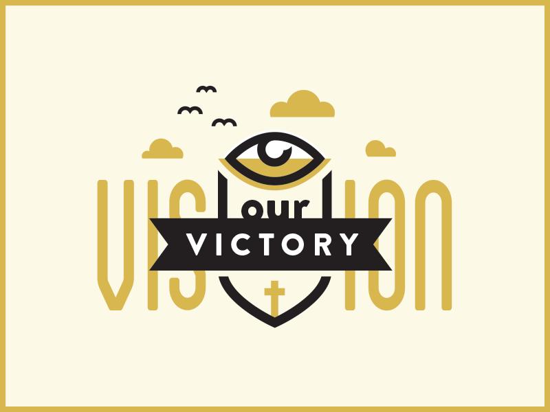 Victory Vision Logo logo type graphic presentation eye cross cloud birds crest