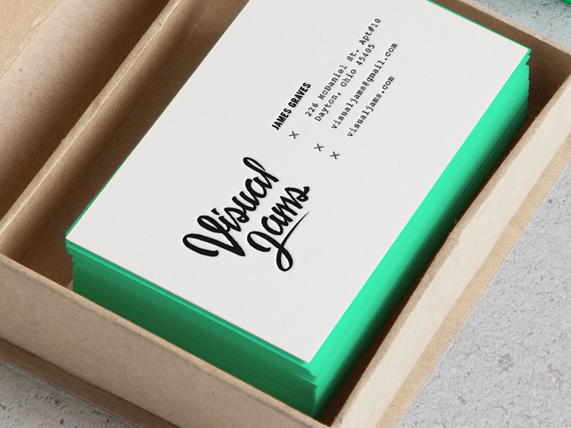 Visual Jams type branding card logo collateral mockup