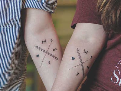 Matching Tattoos  tattoo tat type forever love ink pencil heart m j letter location pin