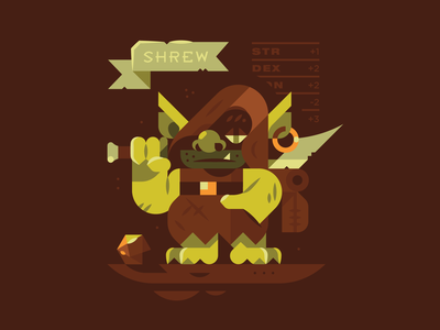 Shrew - D&D shapes simple texture type character illustration mobster stats bedroll backpack sword goblin orc half-orc dungeon and dragons dd