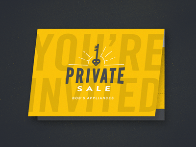 Private Sale Invite key texture mockup invite folds classy fun modern vintage