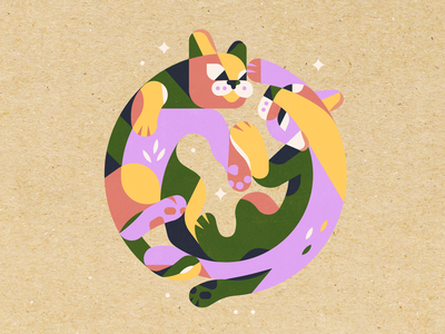 Even with nine lives I'd choose you every time. nine lives nine years nine 9 simple texture illustration circle card round colors shapes circle love forever cats print card anniversary