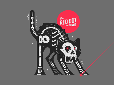 The Red Dot texture illustration white black spook october thriller fangs skull bones typography layout poster campy scary creepy spooky halloween skeleton cat