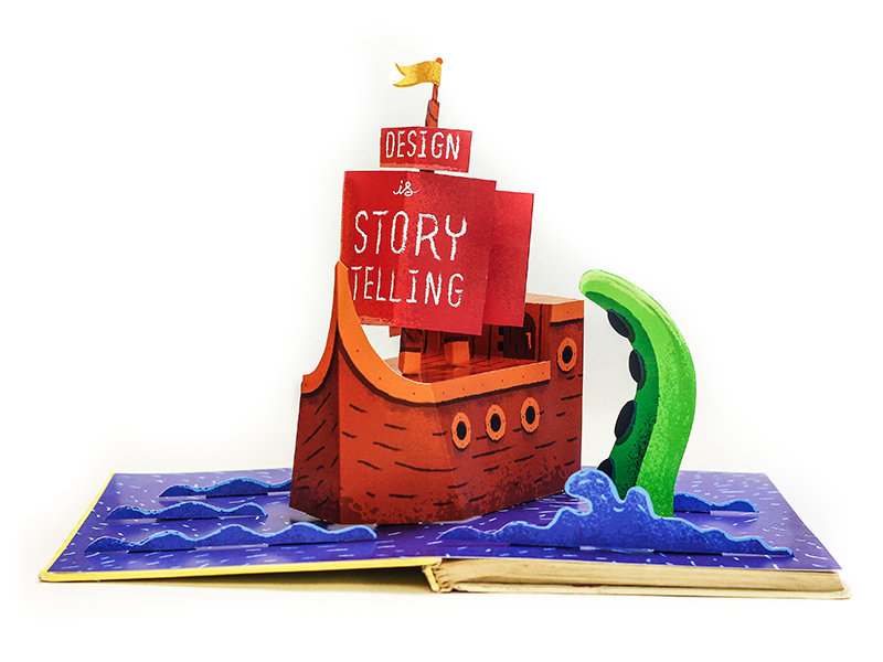 Design Is Storytelling book storytelling boat kraken octopus type texture paper wood water waves pop up book