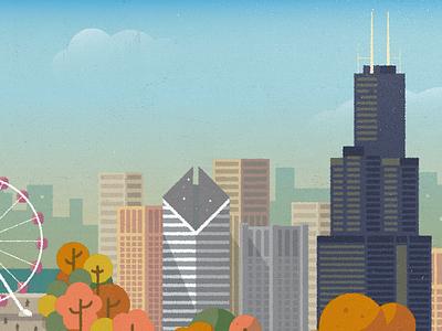 Chicago fall chicago building trees sky scraper willis tower ferris wheel