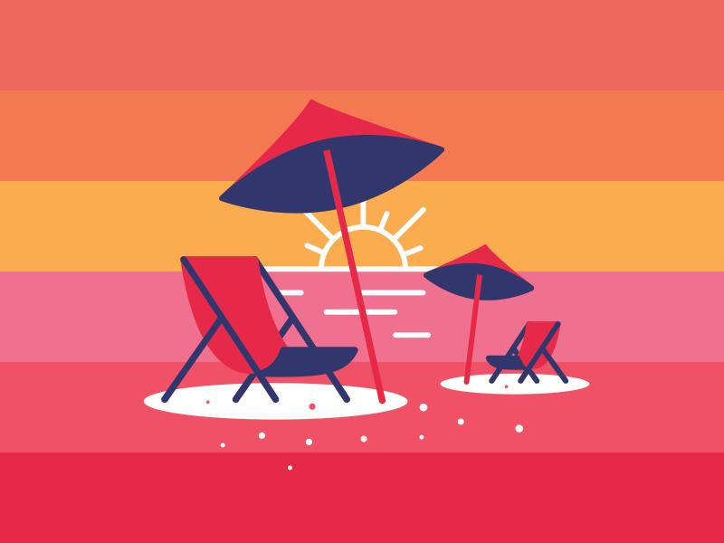 Beach Chairs sunrise sunset gradient sun umbrellas chairs beach