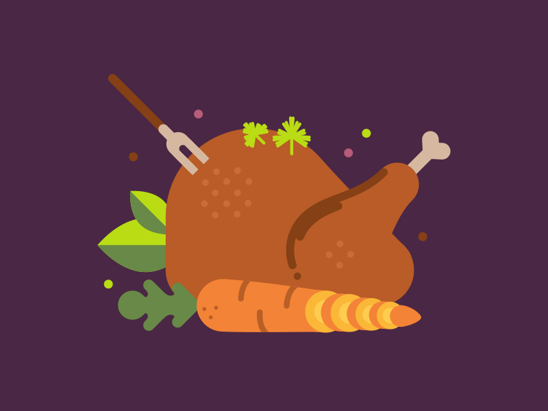 Happy Thanksgiving! flat food thanksgiving cilantro carrot leaves meat turkey